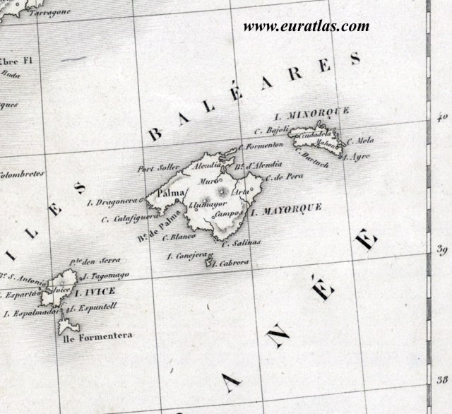 SPAIN about 1830 Ibiza Majorca and Minorca
