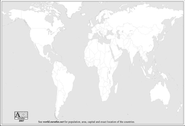 Euratlas info world bw blank map a black and white world blank map with the countries boundaries this map is printable on a4 sheets and is adapted for school tests gumiabroncs Choice Image