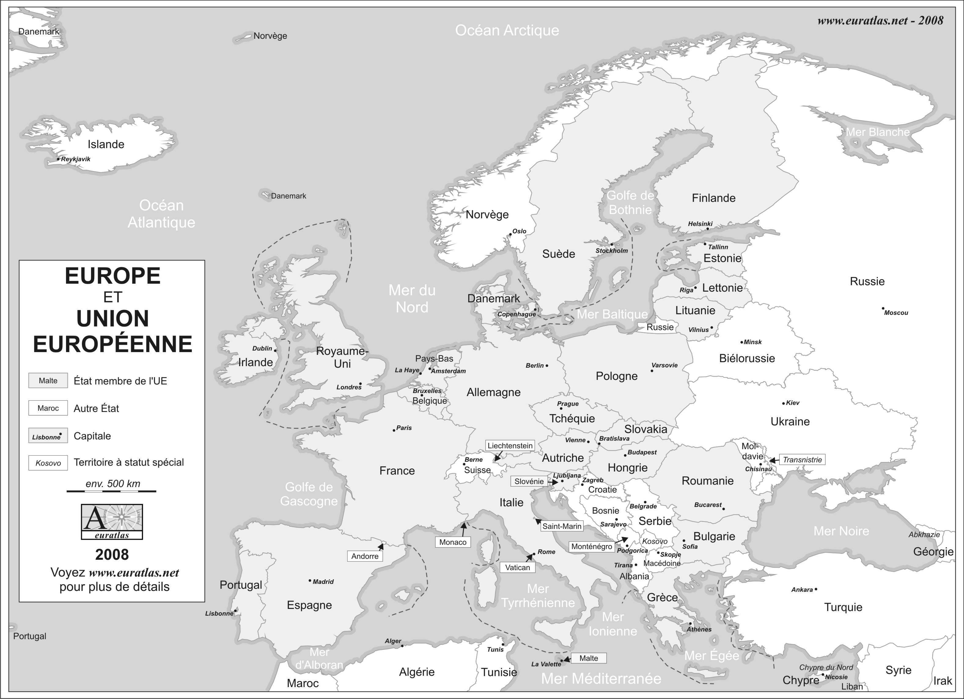 Carte Union Europe Vierge.Euratlas Info Europe Et Union Europeenne 2008 En Niveaux De