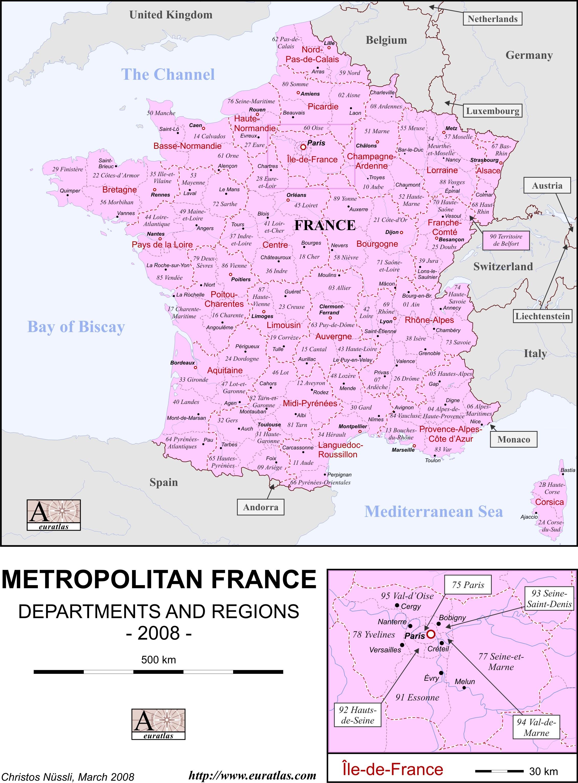 Labeled Map Of France.Euratlas Info Member S Area France En Lab Col