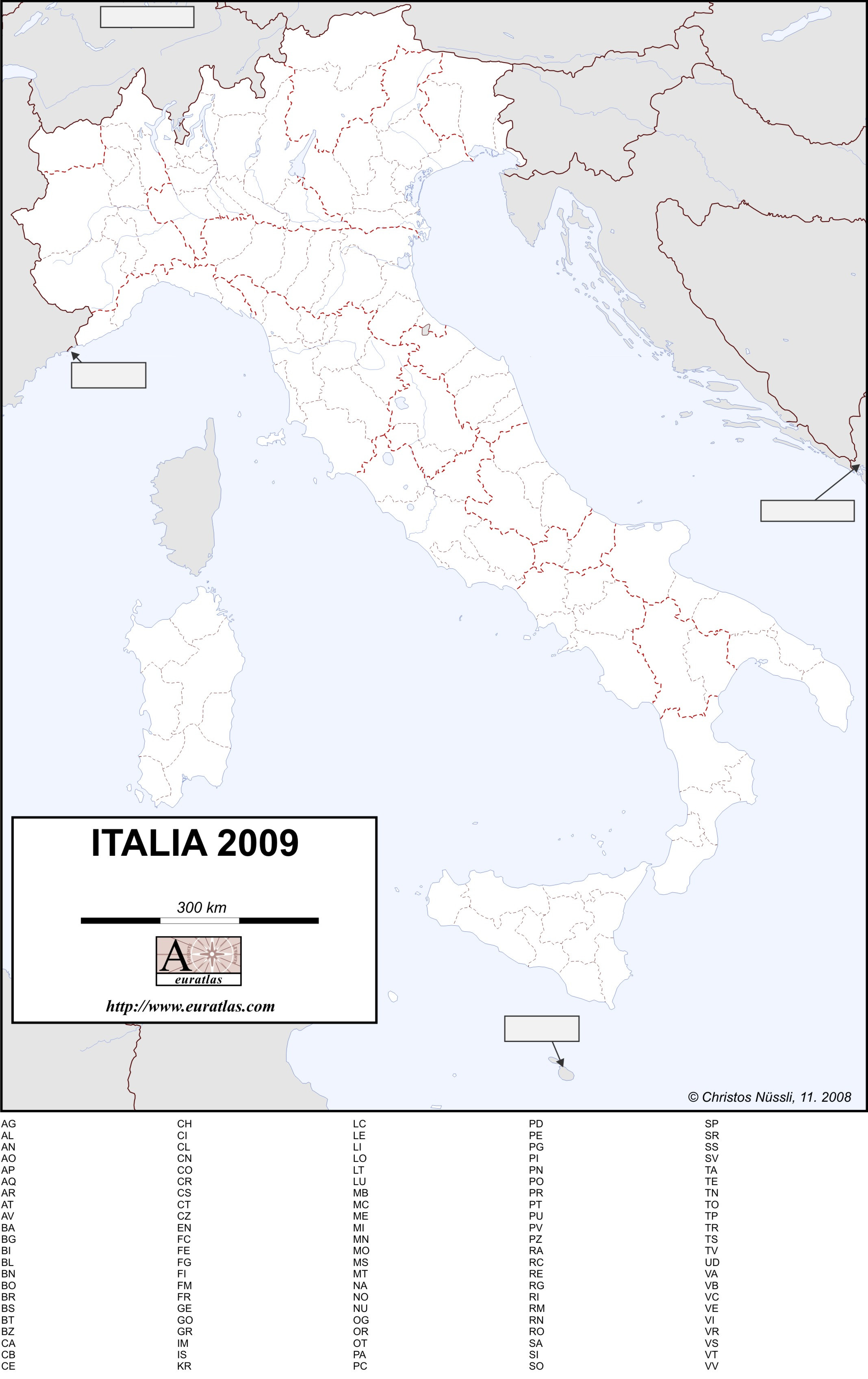 picture relating to Printable Map of Italy identify Euratlas-Information and facts: Blank Map of Italy 2009, within Colour