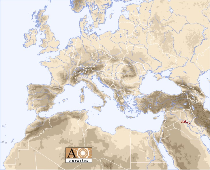 Europe Atlas The Cities Of Europe And Mediterranean Basin Baghdad - Baghdad map world