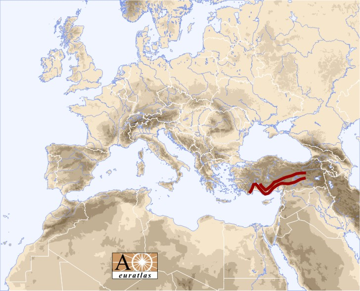 Taurus Mountains Map Europe Atlas: the Mountains of Europe and Mediterranean Basin   Taurus