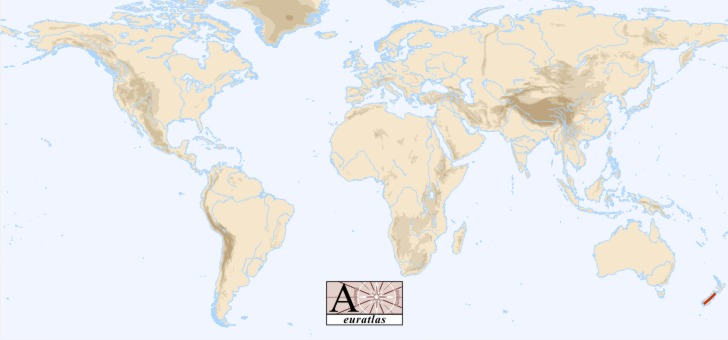 Southern Alps New Zealand Map.World Atlas The Mountains Of The World Southern Alps Southern Alps