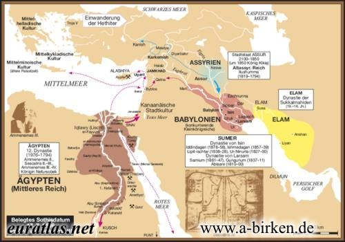 Altorient Th Century BC - Map of egypt during the middle kingdom