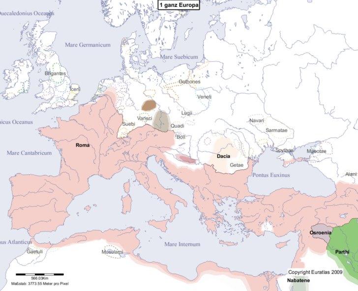 Hauptkarte von Europa im Jahre 1