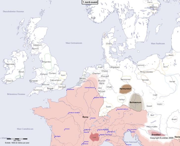 Carte montrant l'Europe en 1 nord-ouest