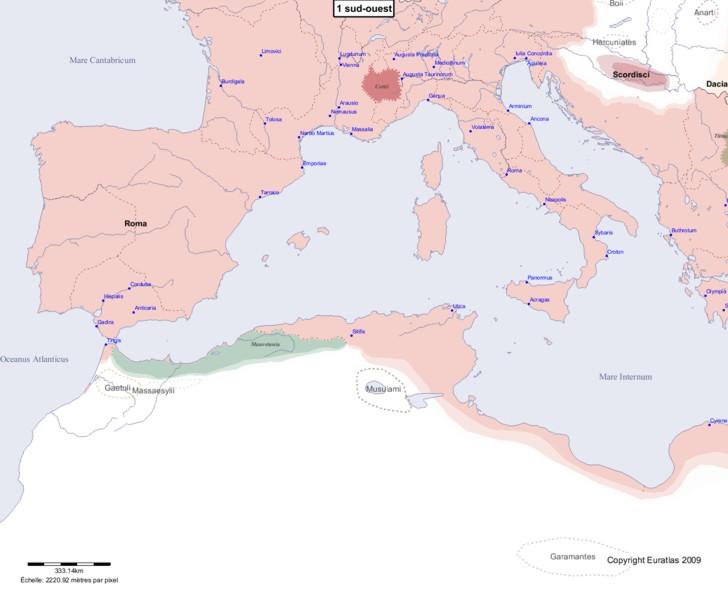 Carte montrant l'Europe en 1 sud-ouest