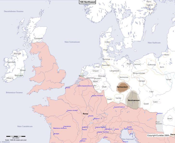 Map showing Europe 100 Northwest