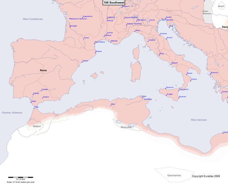 Map showing Europe 100 Southwest