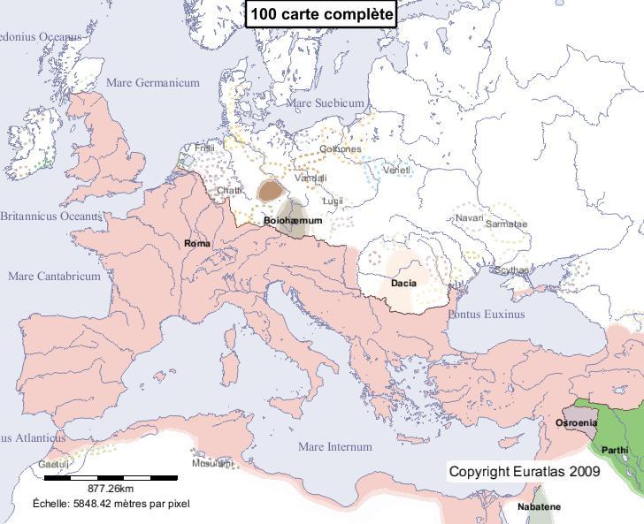Carte complète de l'Europe en l'an 100