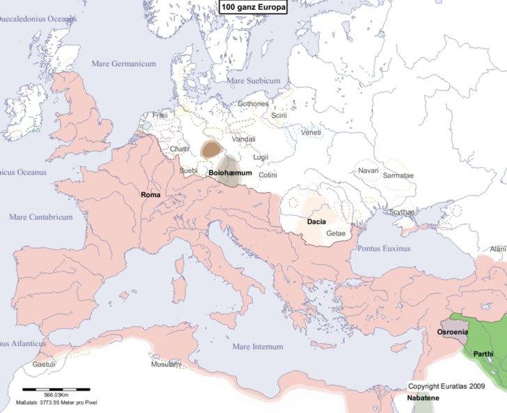 Hauptkarte von Europa im Jahre 100