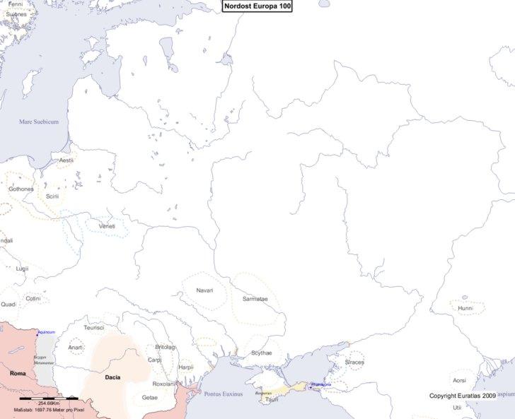 Karte von 100 Nordost