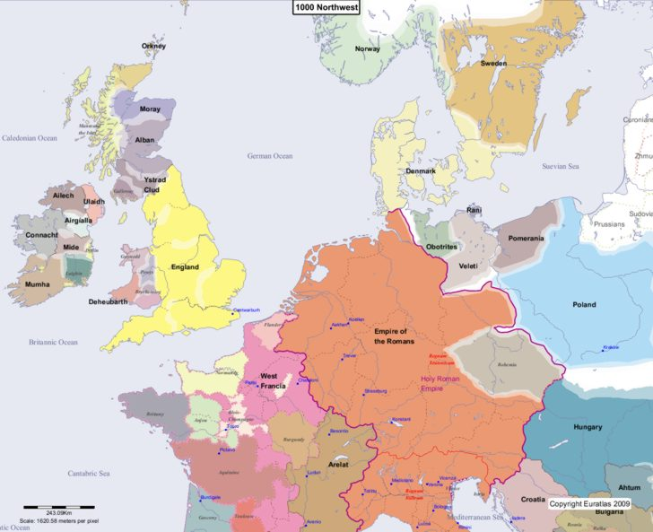 Map Of Europe In 1000.Euratlas Periodis Web Map Of Europe 1000 Northwest