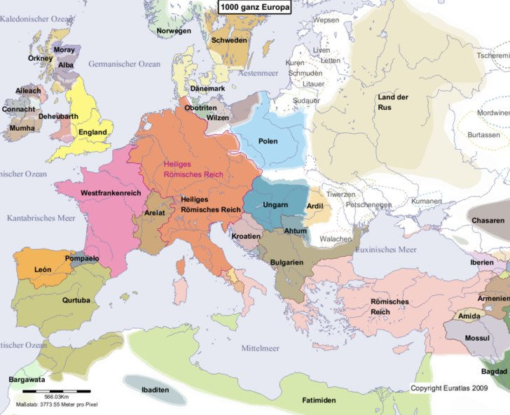 Hauptkarte von Europa im Jahre 1000
