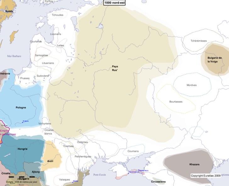 Carte montrant l'Europe en 1000 nord-est