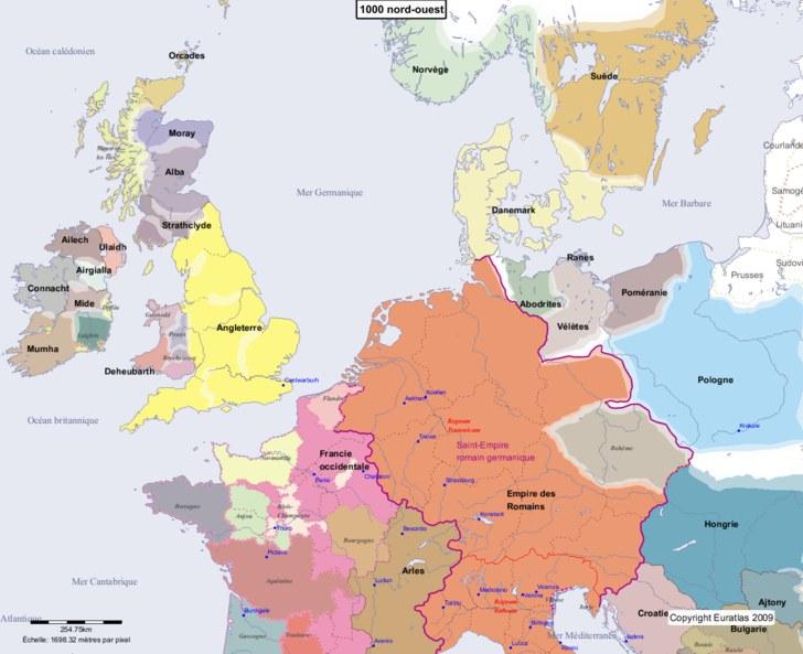 Carte montrant l'Europe en 1000 nord-ouest