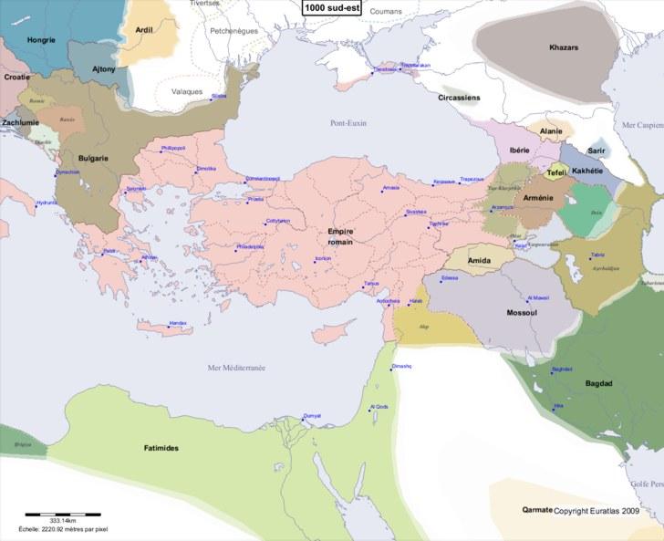 Carte montrant l'Europe en 1000 sud-est