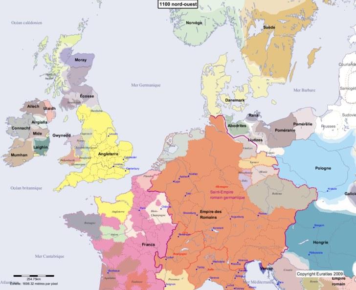 Carte montrant l'Europe en 1100 nord-ouest