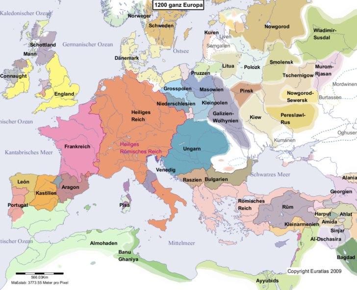 Hauptkarte von Europa im Jahre 1200