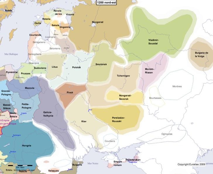 Carte montrant l'Europe en 1200 nord-est