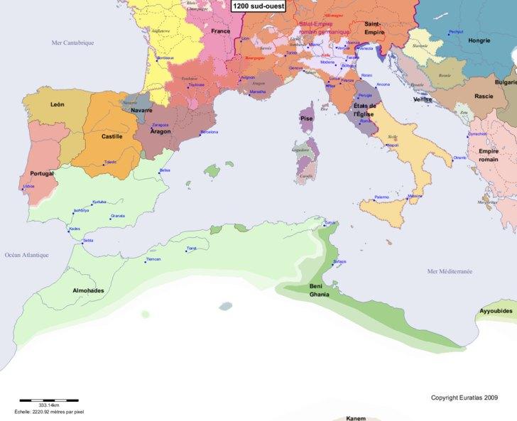 Carte montrant l'Europe en 1200 sud-ouest