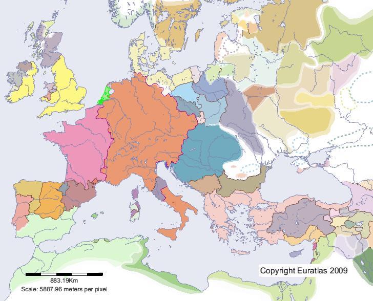 Euratlas Periodis Web - Karte von Holland im Jahre 1200