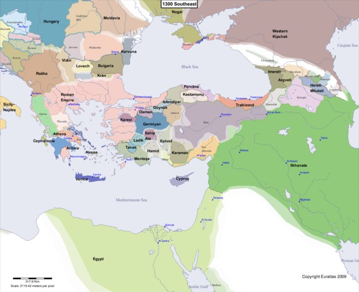 Map showing Europe 1300 Southeast
