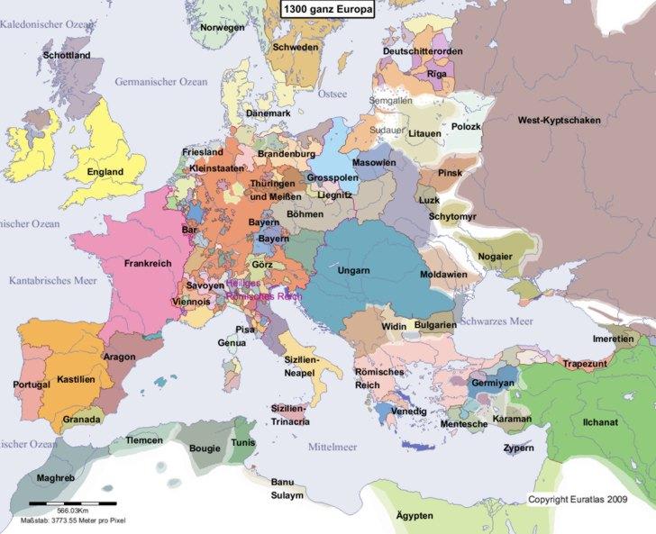 Hauptkarte von Europa im Jahre 1300