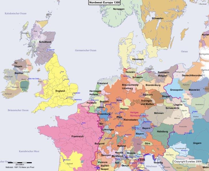Karte von 1300 Nordwest