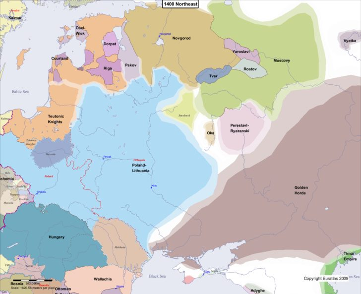 Map showing Europe 1400 Northeast