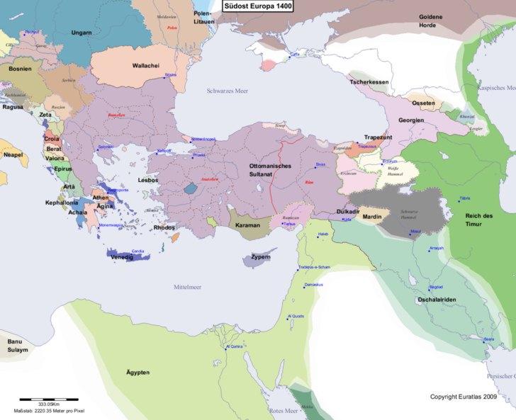 Karte von 1400 Sudost