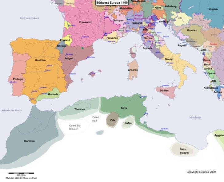 Karte von 1400 Sudwest