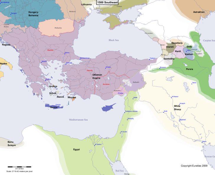 Map showing Europe 1500 Southeast