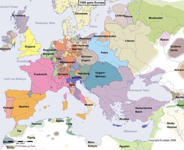Hauptkarte von Europa im Jahre 1500