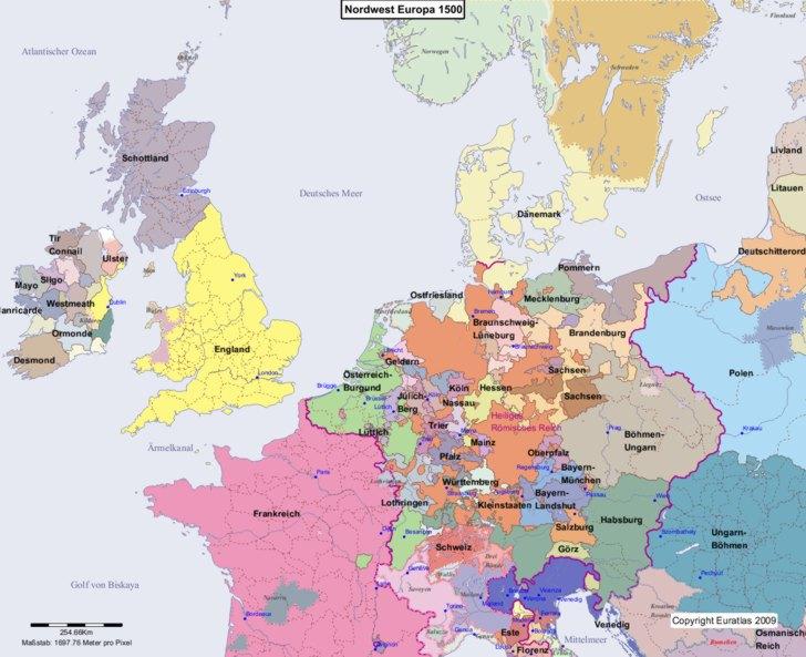 Karte von 1500 Nordwest