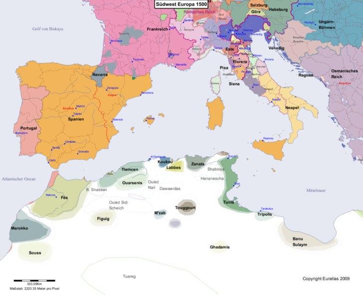 Karte von 1500 Sudwest