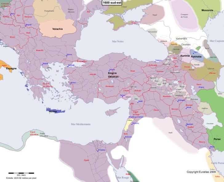 Carte montrant l'Europe en 1600 sud-est