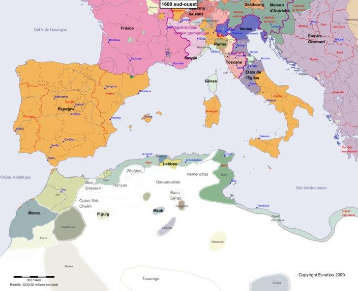 carte europe sud