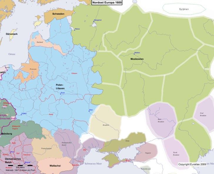 Karte von 1600 Nordost