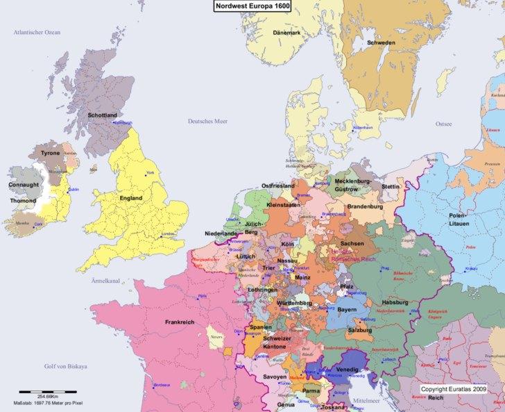 Karte von 1600 Nordwest