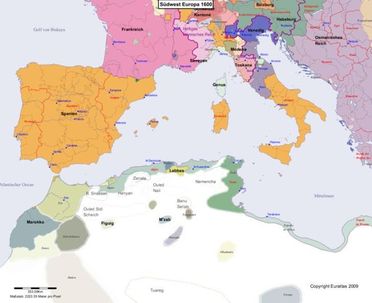 Karte von 1600 Sudwest