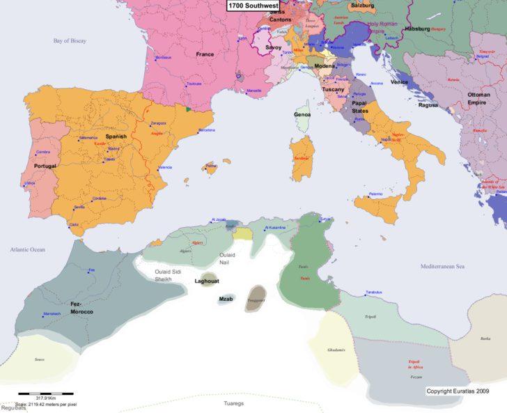 Map showing Europe 1700 Southwest