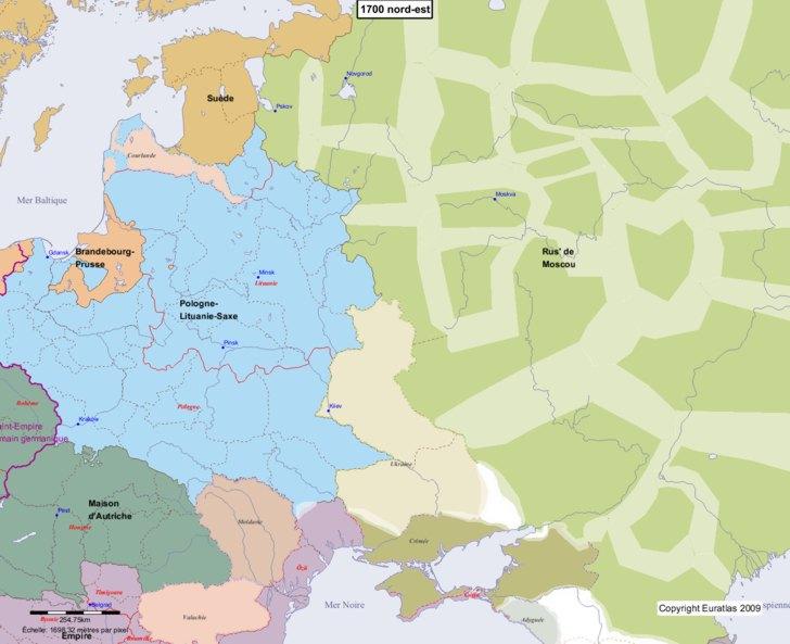 Carte montrant l'Europe en 1700 nord-est