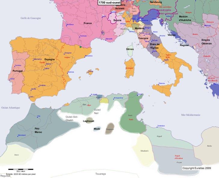 Carte montrant l'Europe en 1700 sud-ouest
