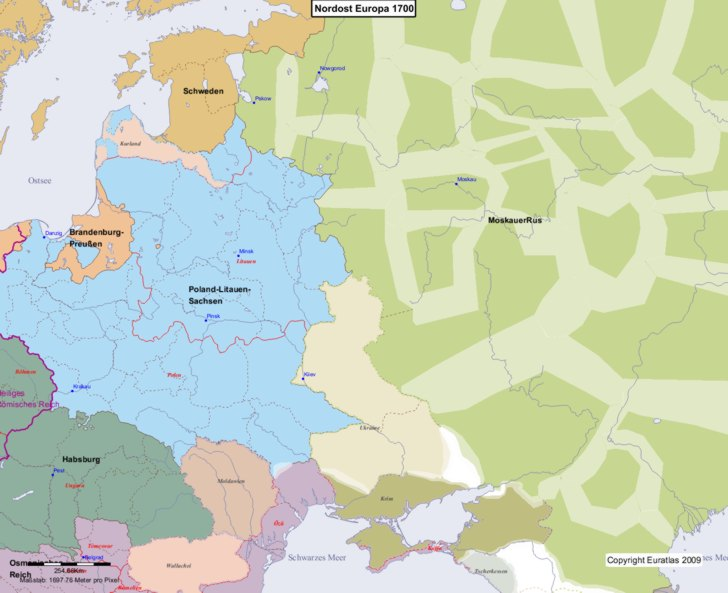 Karte von 1700 Nordost