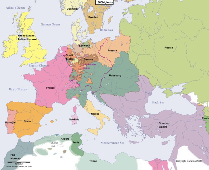 Euratlas Periodis Web Map of Europe in Year 1800