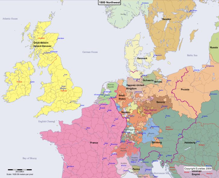 Map showing Europe 1800 Northwest