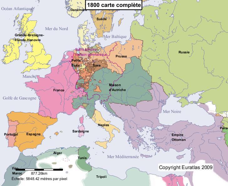 Carte complète de l'Europe en l'an 1800