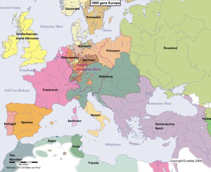 Hauptkarte von Europa im Jahre 1800